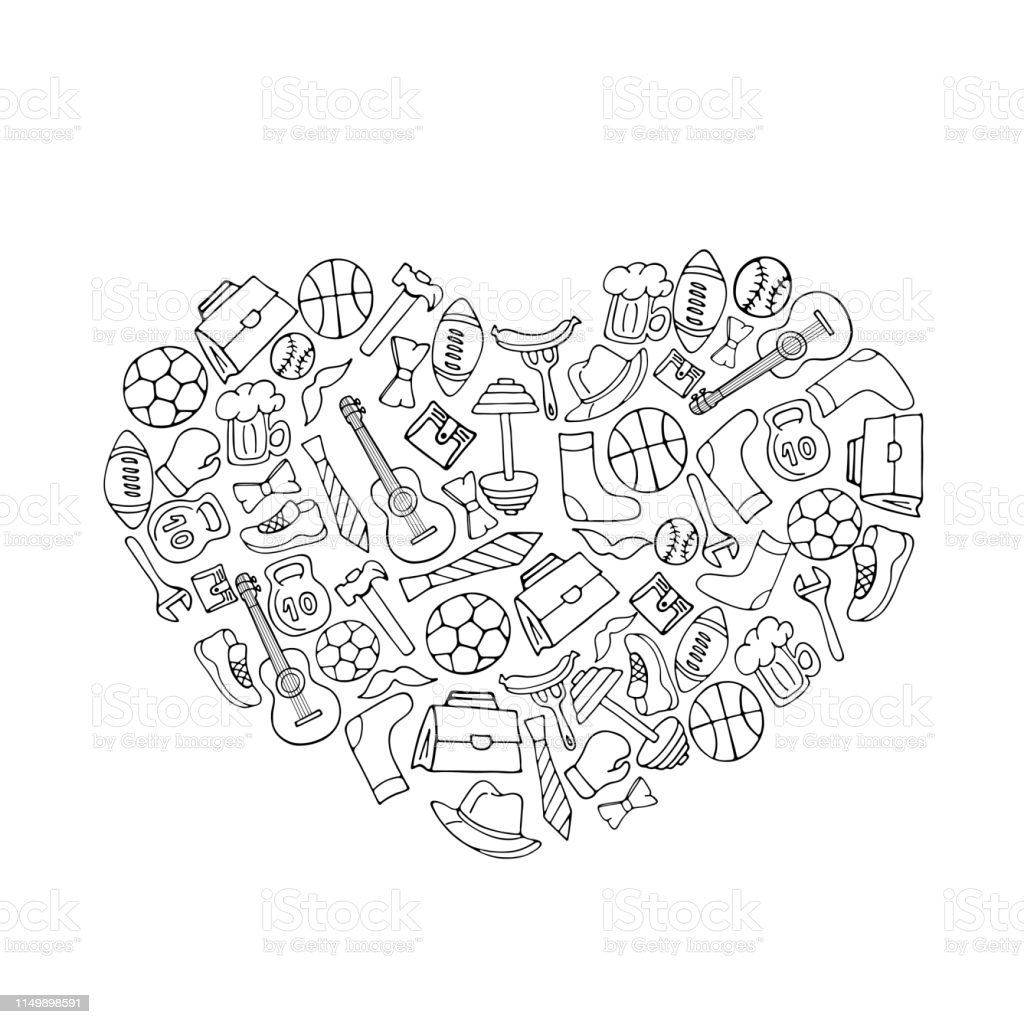 Fathers Day holiday banner in the shape of a heart in doodle style...