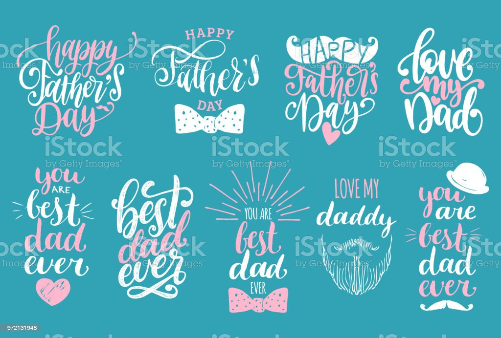 Fathers Day Holiday calligraphy collection. Vector set of handwritten phrases. vector art illustration