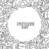 Father's Day holiday frame in doodle style. Men's lifestyle, sports equipment, clothes and accessories coloring book.