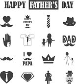 Father's Day icons set. vector