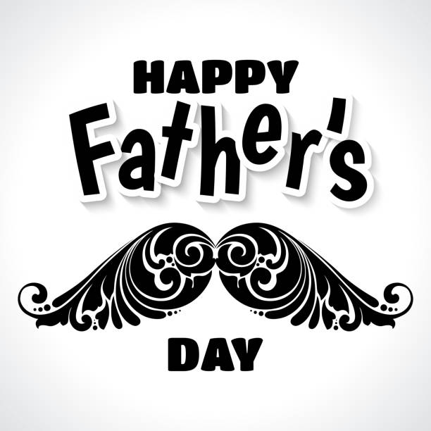 Father's Day illustration with ornate decorative curls mustache. Stylish black and white greeting card banner design . Father's Day illustration with ornate decorative curls mustache. Stylish black and white greeting card banner design with text Happy Father's Day mistery stock illustrations