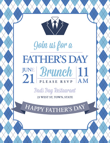 Father's Day Invitation Template With Argyle Background