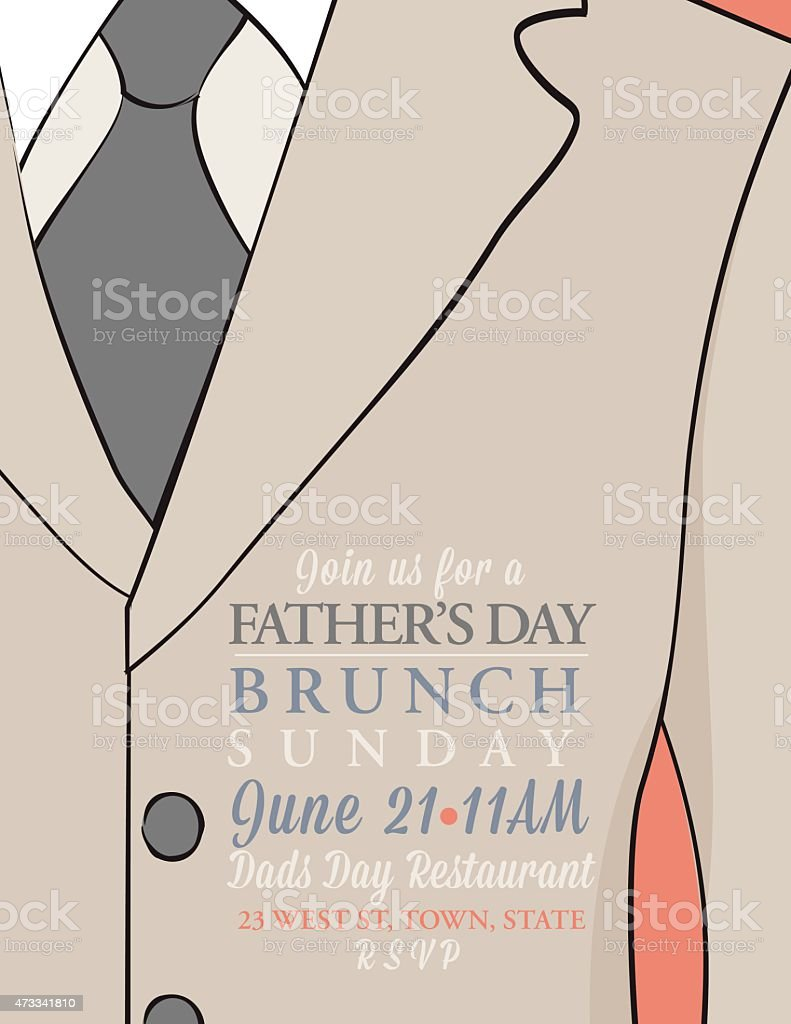 fathers day invitation template with suit and tie stock vector art