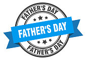 father's day label. father's day blue band sign. father's day