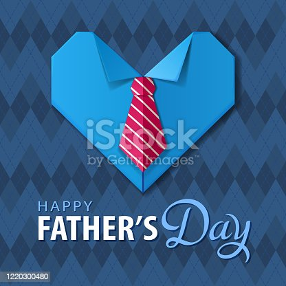 istock Father's Day Origami Heart Shirt 1220300480