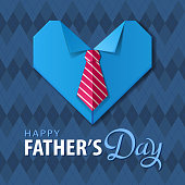 Celebrating the Father's Day with handmade origami heart shirt and tie on the blue color pattern