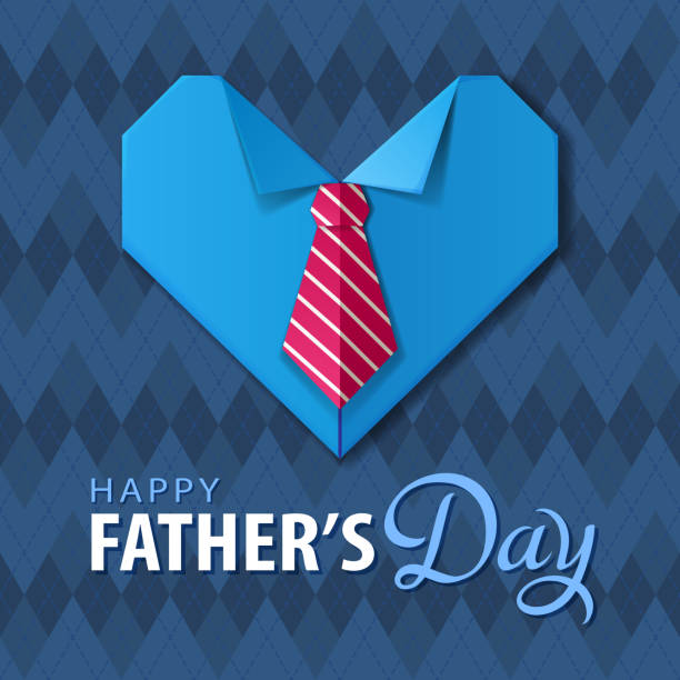 Father's Day Origami Heart Shirt Celebrating the Father's Day with handmade origami heart shirt and tie on the blue color pattern fathers day stock illustrations