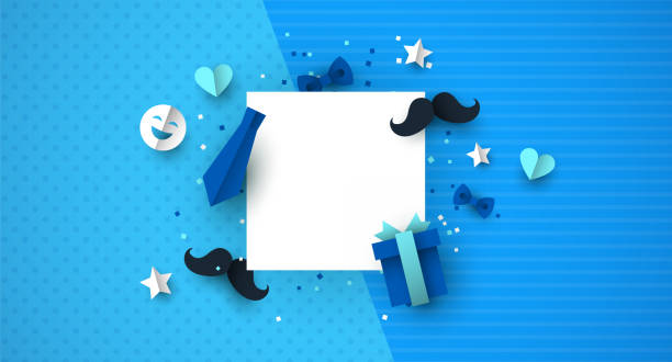 Fathers Day paper cut icon template background Father's Day background template concept with blue color paper cut icons. Ideal for male product sale or special event. fathers day stock illustrations