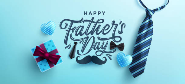 Father's Day poster or banner template with necktie and gift box on blue background.Greetings and presents for Father's Day in flat lay styling.Promotion and shopping template for love dad vector art illustration