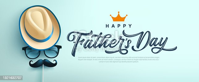 istock Father's Day poster or banner template with symbol of Dad from hat,glasses and mustache.Greetings and presents for Father's Day in flat lay styling.Promotion and shopping template for love dad 1321632707