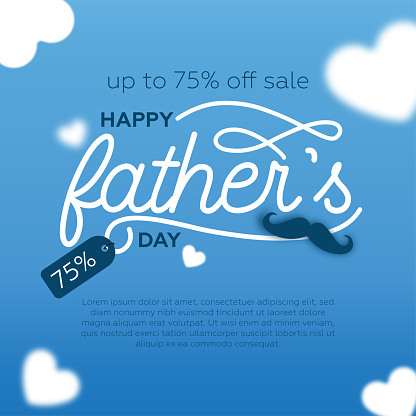 Father's day sale background. Blue background and white heart shapes.
