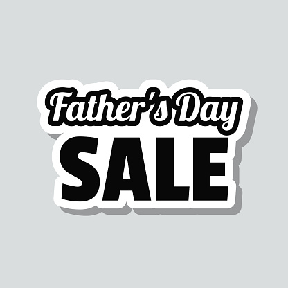 Father's Day Sale. Icon sticker on gray background