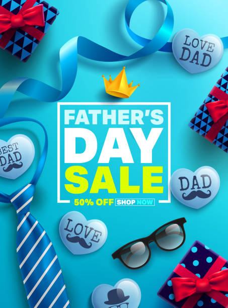 Father's Day Sale Promotion Poster or banner with cute blue heart by text inside and gift box for dad concept.Promotion and shopping template for Father's Day.Vector illustration EPS10 vector art illustration