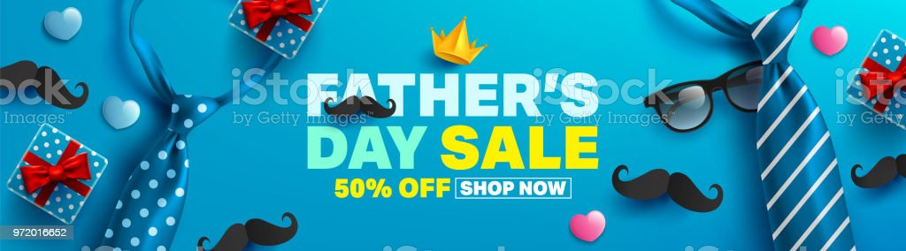 父の日の販売促進ポスターまたはオープン ギフト ラップ ペーパー コンセプトとバナー。プロモーションと父の Day.Vector イラスト EPS10 ショッピング テンプレート ベクターアートイラスト