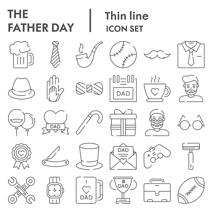 Fathers day thin line icon set, mens accessories and gifts symbols collection, vector sketches, logo illustrations, male stuff signs linear pictograms package isolated on white background, eps 10.