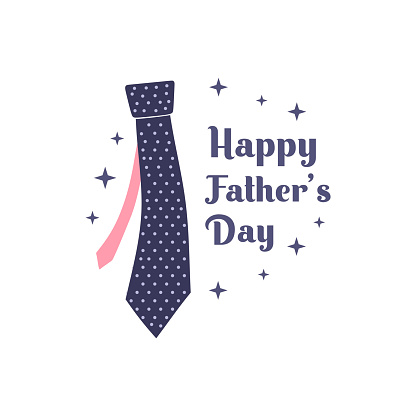 father's day. vector flat illustration, simple element with tie, isolated on white background.