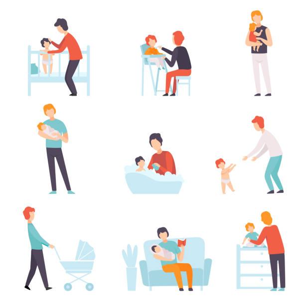 väter kümmern sich um ihre babies set, young dads feeding, spielen, walking mit son oder tochter vector illustration - toddler stock-grafiken, -clipart, -cartoons und -symbole