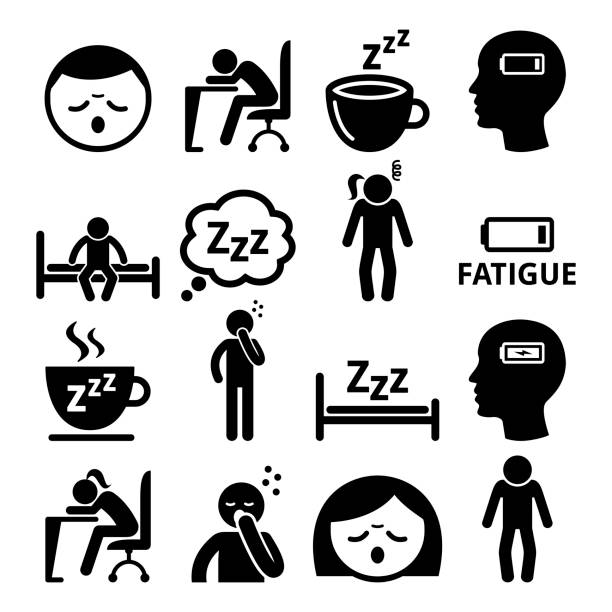 illustrazioni stock, clip art, cartoni animati e icone di tendenza di fatigue icons, tired, sleepy man and woman vector design - noia