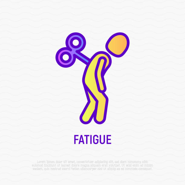Fatigue thin line icon: tired man with clockwork key in his back. Modern vector illustration of depression, neurosis, chronic tiredness. Fatigue thin line icon: tired man with clockwork key in his back. Modern vector illustration of depression, neurosis, chronic tiredness. chronic illness stock illustrations
