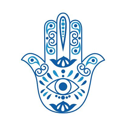 Fatima Hand or Hamsa in shape of human hand flat vector illustration isolated.