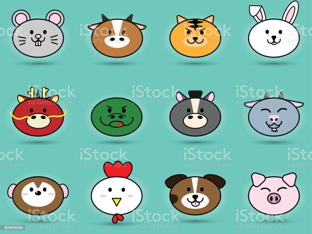 Fatty Cute Head Of Animal Sign Symbol For Chinese Zodiac Horoscope
