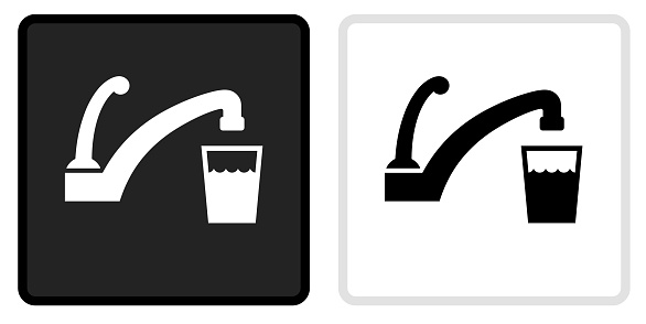 Faucet and Water Icon on  Black Button with White Rollover. This vector icon has two  variations. The first one on the left is dark gray with a black border and the second button on the right is white with a light gray border. The buttons are identical in size and will work perfectly as a roll-over combination.