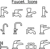 Faucet icon set in thin line style
