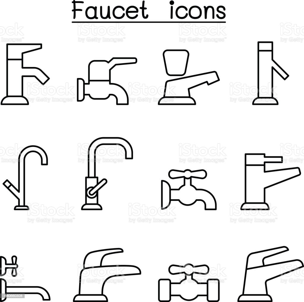 Faucet icon set in thin line style vector art illustration