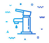 Faucet outline style icon design with decorations and gradient color. Line vector icon illustration for modern infographics, mobile designs and web banners.