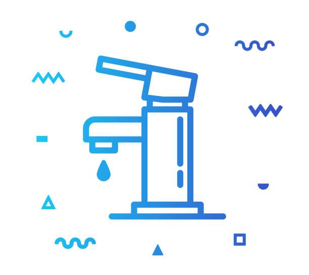 faucet line style icon design - waschküchendekorationen stock-grafiken, -clipart, -cartoons und -symbole