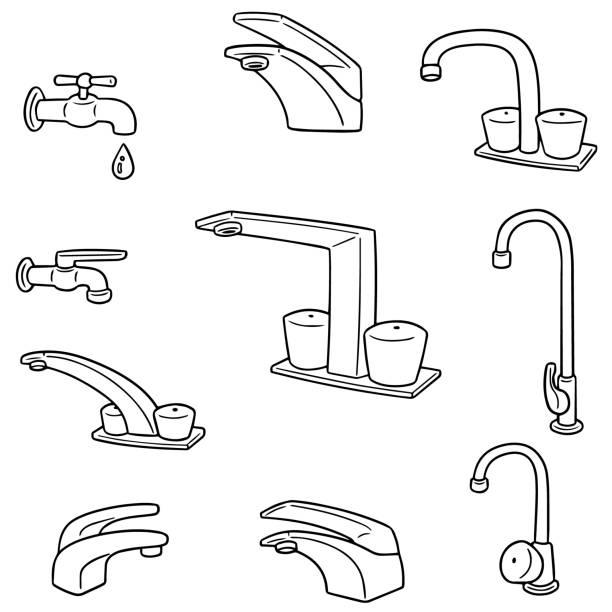 faucet – artystyczna grafika wektorowa