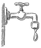 Hand-drawn vector drawing of a Faucet and a Water Drop. Black-and-White sketch on a transparent background (.eps-file). Included files are EPS (v10) and Hi-Res JPG.