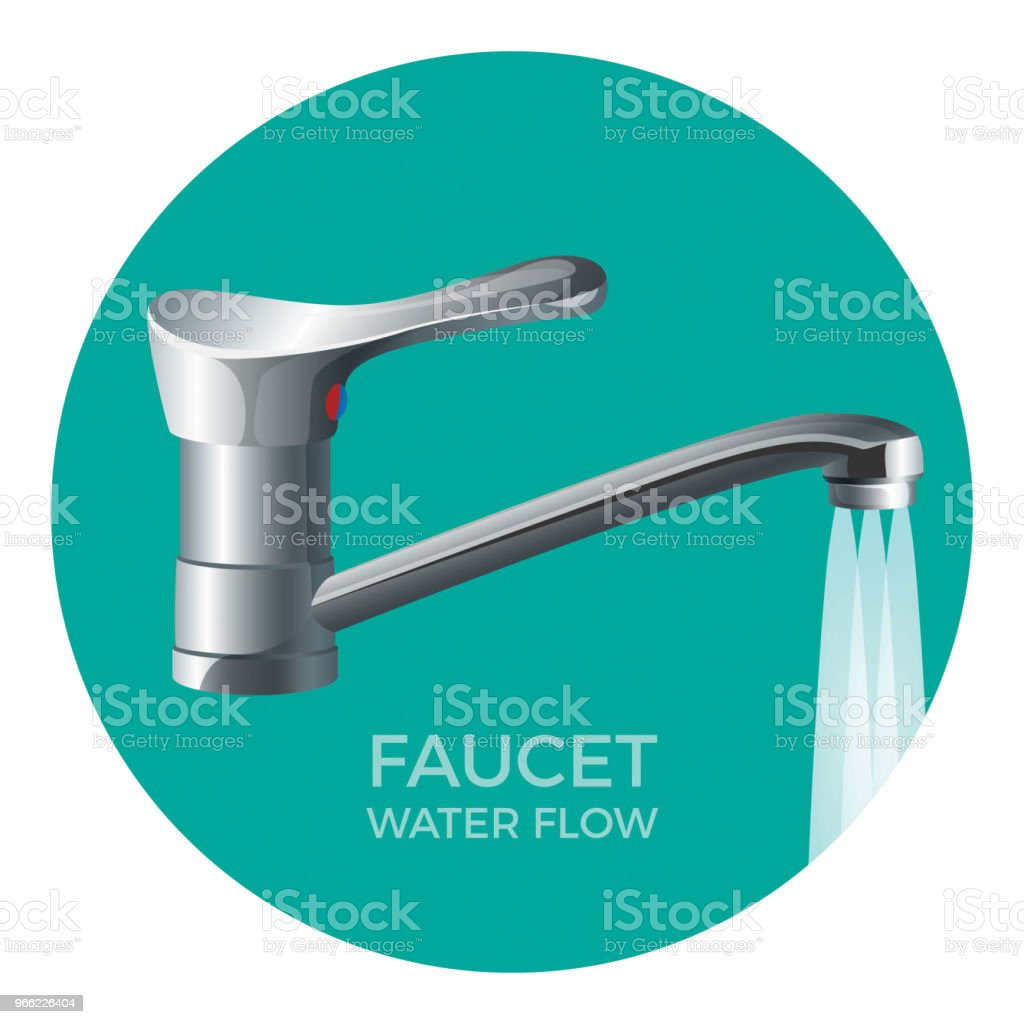 Faucet Water Flow Promo Logo With Modern Tap Stock Vector Art & More ...
