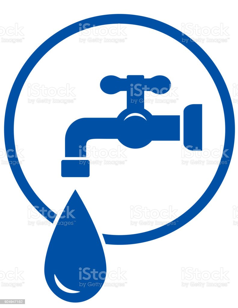 faucet with water drop vector art illustration