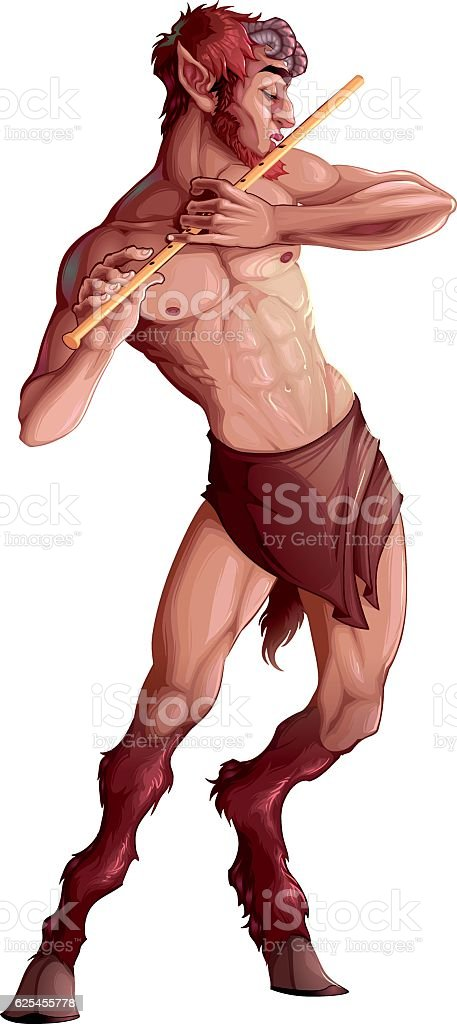Faun playing the flute vector art illustration