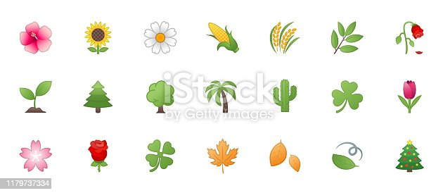 Fauna, Nature, Floral Icons Vector Set. Trees, Flowers, Leaves Illustration Flat Style Cartoon Symbols, Emojis, Emoticons Collection