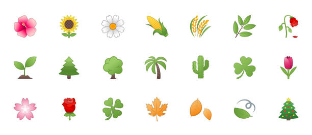 fauna, nature, floral icons vector set. trees, flowers, leaves illustration flat style cartoon symbols, emojis, emoticons collection - palm tree stock illustrations