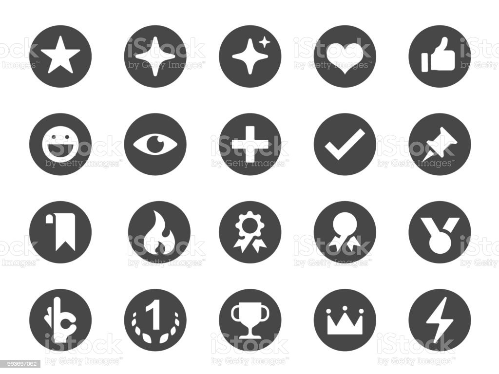 Favorite And Like Icon Set Included Icons As Love Button