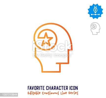 istock Favorite Character Continuous Line Editable Stroke Line 1257210544