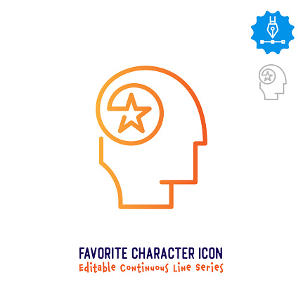 Favorite Character Continuous Line Editable Stroke Line
