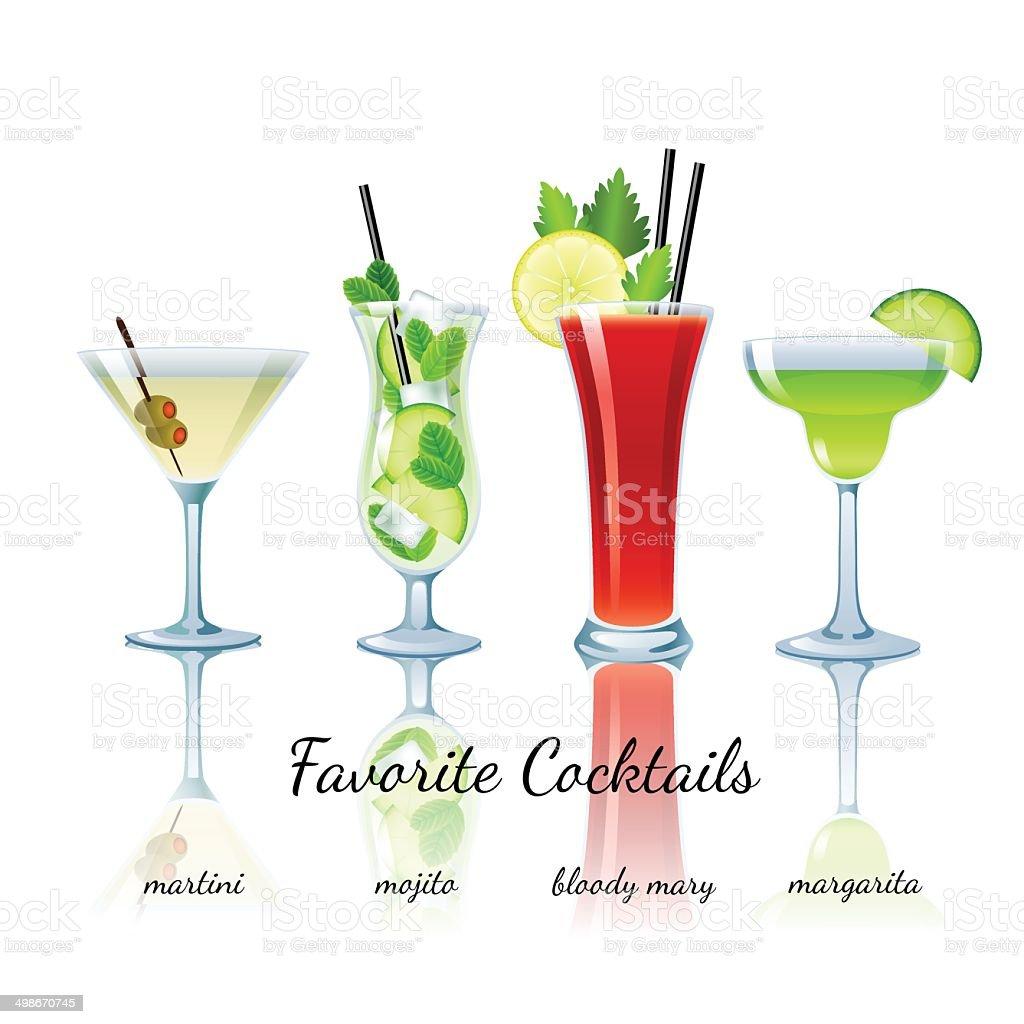 Favorite cocktails set, isolated vector art illustration