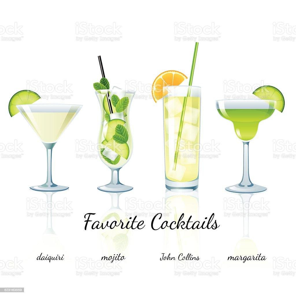 Favorite cocktails set, isolated vector art illustration