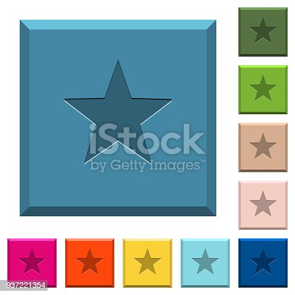 istock Favorite engraved icons on edged square buttons 937221354