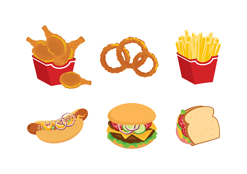 Favorite fast food meal icon set vector