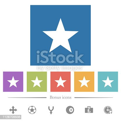 istock Favorite flat white icons in square backgrounds 1126705535