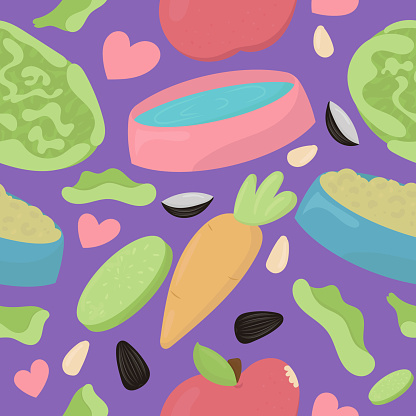 favorite food and treats for guinea pigs and rodents - a bowl of food and water, cabbage, carrot, apple, seeds, cute home rodent, vector seamless pattern on purple background
