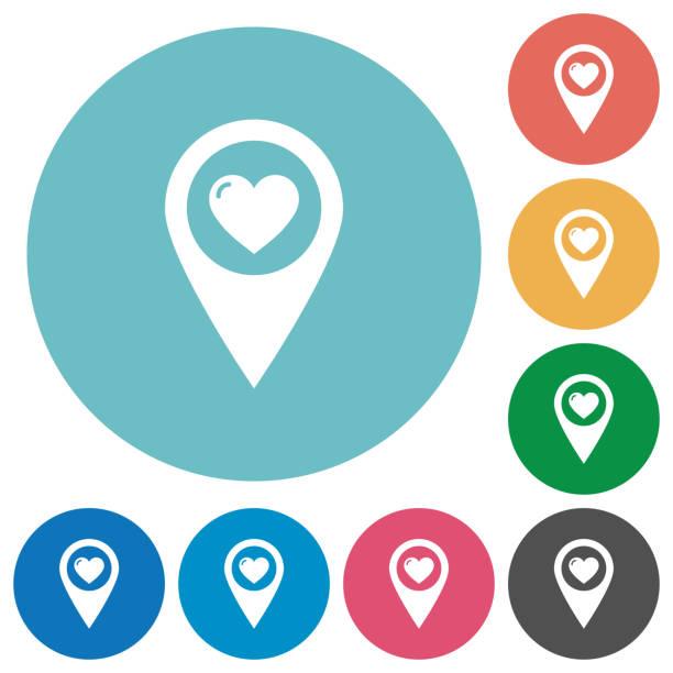 Lieblings-GPS Karte Lage flach rund Symbole – Vektorgrafik