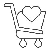 Favorite shopping cart with heart thin line icon. Market trolley with heart shape. Commerce vector design concept, outline style pictogram on white background, use for web and app. Eps 10