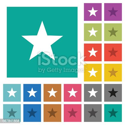 istock Favorite square flat multi colored icons 667841858