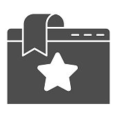 Favorite window tab solid icon. Website bookmark with star. World wide web vector design concept, glyph style pictogram on white background, use for web and app. Eps 10